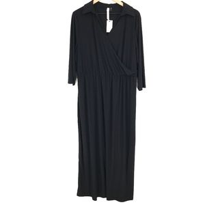 NEW NY Collection Woman Slinky Maxi shirt little Dress Black casual 1X women's